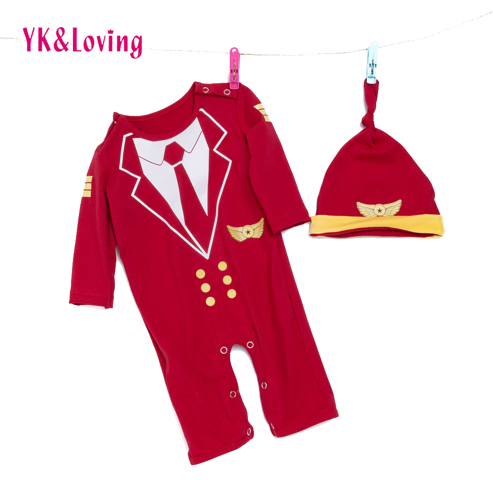Baby Red Rompers Boy Girl Captain/navy Clothes Cartoon Jumpsuit and Hat Newborn One-Pieces Children Performance Clothing sets sr039 newborn baby clothes bebe baby girls and boys clothes christmas red and white party dress hat santa claus hat sliders