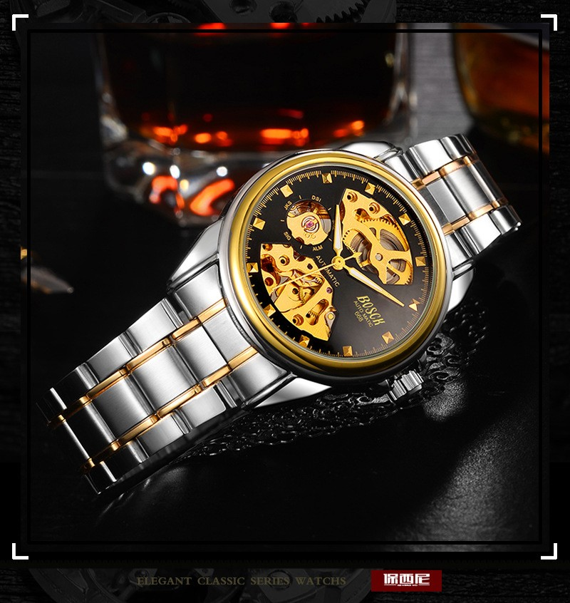 HTB1hkgTbf1H3KVjSZFHq6zKppXaA Men's Watches Automatic Mechanical Gold Watch Male Skeleton Dial Waterproof Stainless Steel Band Bosck Sports Watches Self Wind