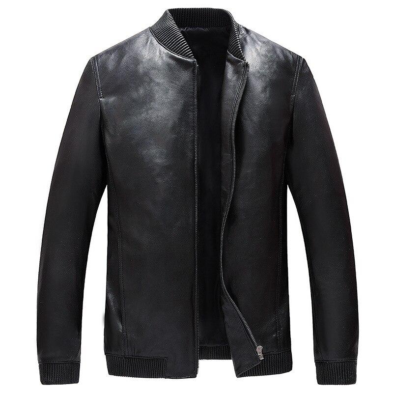 YOLANFAIRY Genuine Leather Jackets For Men Real Sheepskin Leather Bomber Jacket Spring Autumn Plus Size 4 XL Streetwear MF047