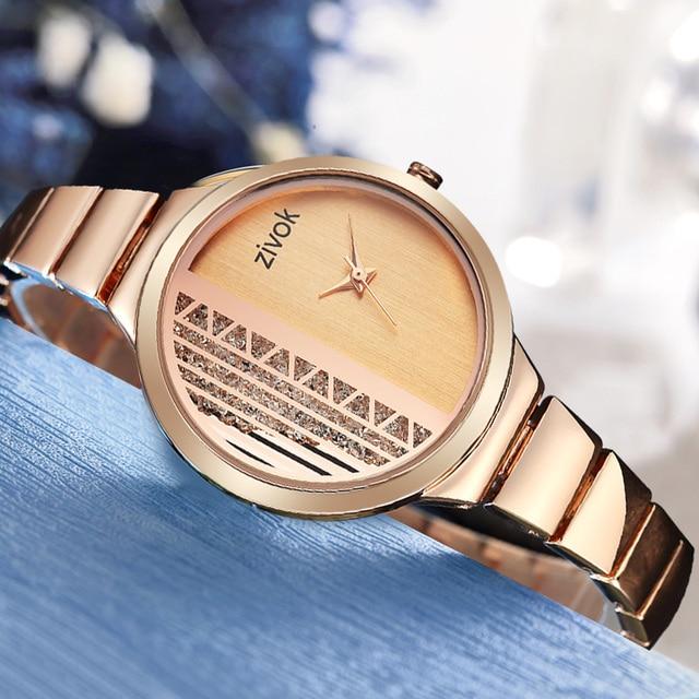 zivok Creative Women Bracelet Watch Rose Gold Ladies Lovers Women Watches Clock