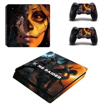Shadow of The Tomb Raider PS4 Slim Skin Sticker Decal Vinyl for Playstation 4 Console and 2 Controllers PS4 Slim Skin Sticker dharma design skin decal sticker for the playstation 3 ps3 slim console