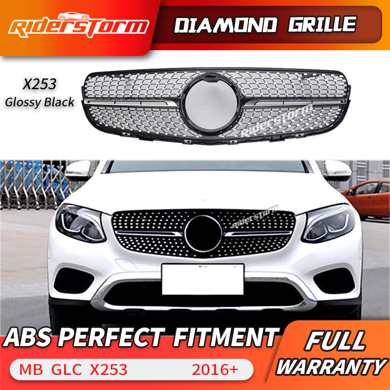 For  X253 Diamond Grille front Grill for GLC X253 GLC200 GLC250 GLC300 Sport glC450 GLC63 ABS grill grille
