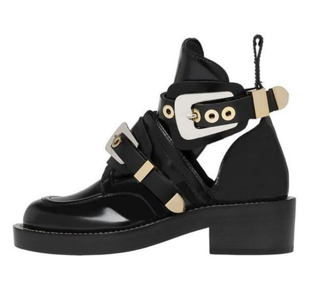 Punk Booties Buckle Straps Thick Heel Black Tobillera Mujer Cut Out Woman Boot Motorcycle Brand Designers Round Toe Summer Shoes in Ankle Boots from Shoes