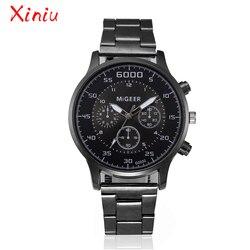 Relógios masculinos marca superior de luxo aço inoxidável banda três olhos relógio de quartzo militar relógio de pulso relogio masculino erkek kol saati