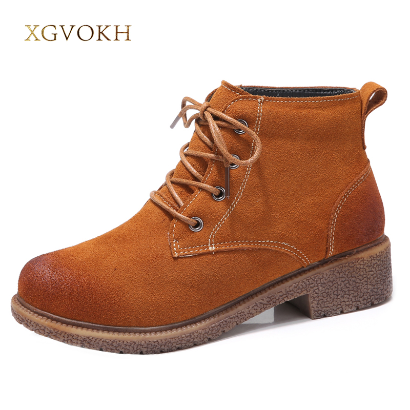 Women Ankle Boot Cow Leather Shoes Fashion winter Keep Warm Short Boots Lace-Up  Women's Black/Brown Shoes xgvokh brand цена и фото