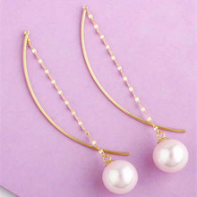 VOJEFEN 18K Gold Pearl Long Dangle Earrings with 7-7.5 mm Natural White Freshwater Round Threader Drop