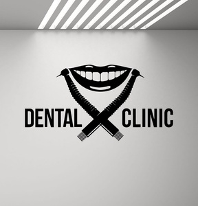 Image 1 - Dental Clinic Decalcomania Della Parete Dentista Logo Trapano Sorriso Stomatologia Dentale Applique Poster Murale Smontabile Citazione Decalcomania Della Finestra 2YC5