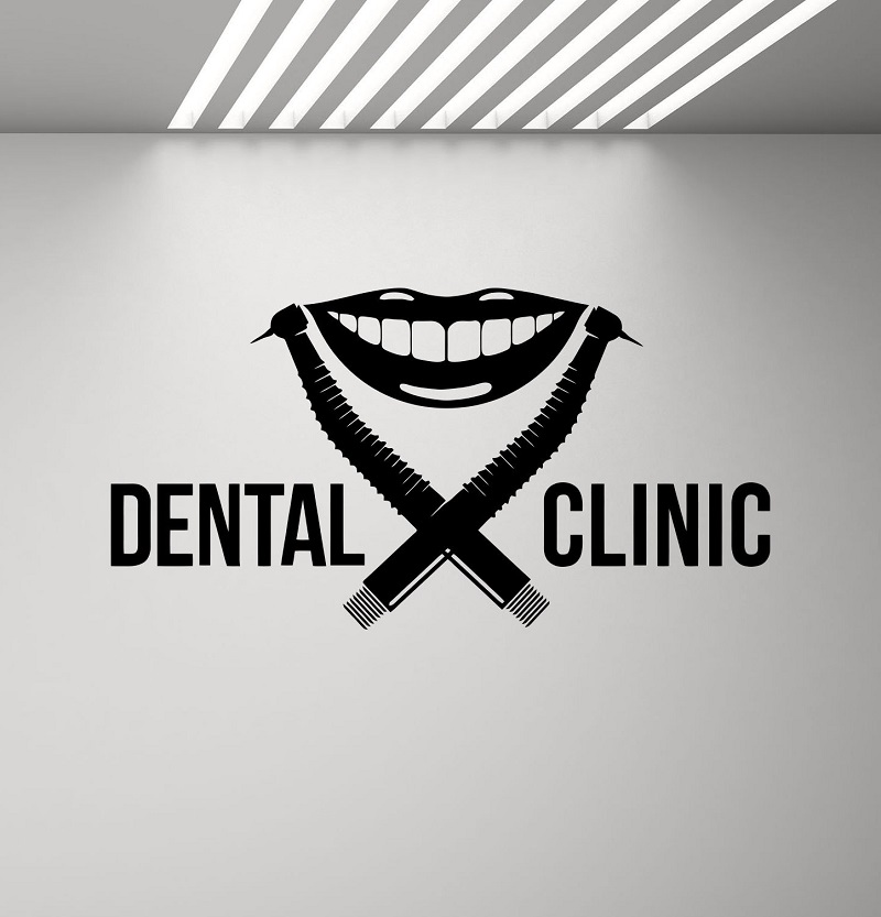 Dental Clinic Wall Decal Dentist Logo Drill Smile Stomatology Dental Applique Poster Mural Removable Quote Window Decal 2YC5-in Wall Stickers from Home & Garden