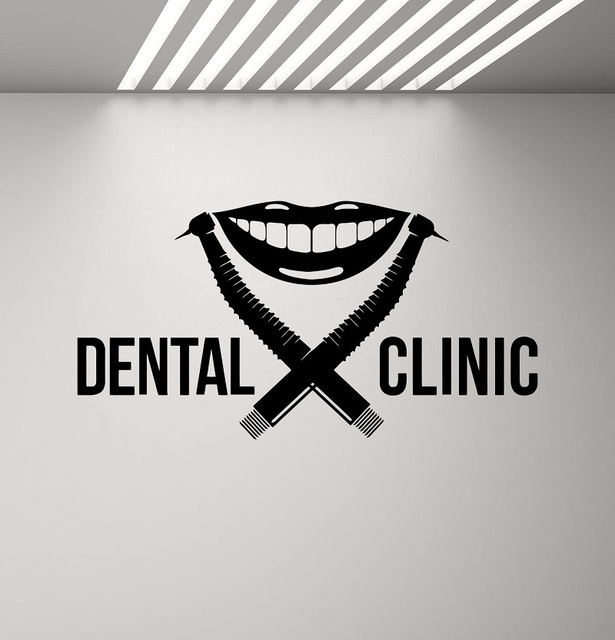 Dental Clinic Wall Decal Dentist Logo Drill Smile Stomatology Dental Applique Poster Mural Removable Quote Window Decal 2YC5