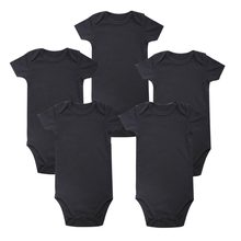 5 Pcs/lot Baby's Sets black White Baby Body suit rompers Blank Unisex Baby boy girl Short Sleeve Summer Clothing Set Clothes(China)