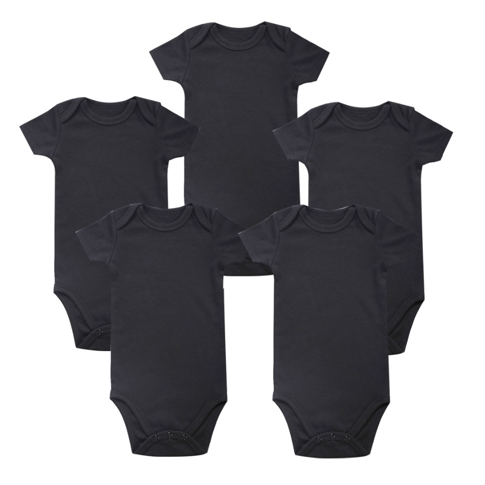 5 Pcs/lot Babys Sets black White Baby Body suit rompers Blank Unisex Baby boy girl Short Sleeve Summer Clothing Set Clothes