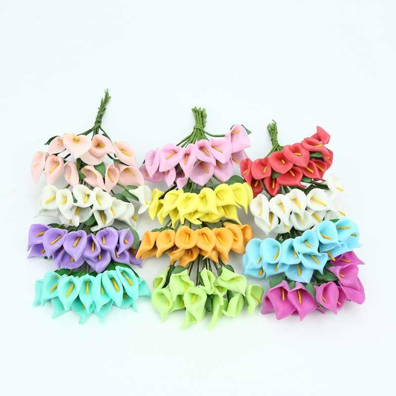 12 pcs โฟมดอกไม้ Calla lily ประดิษฐ์ดอกไม้สำหรับงานแต่งงานหน้าแรกตกแต่ง diy ของขวัญกล่อง scrapbooking พวงหรีดคริสต์มาส