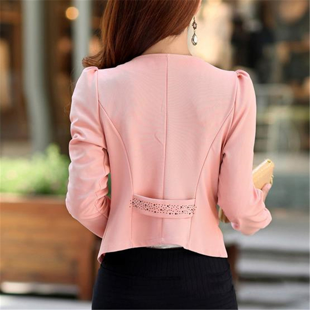 Plus Size 5XL Womens Blazer Work Office Women Blazer Long Sleeve Coat Fashion Casual Pink Black Suit Basic Fall Jacket 1