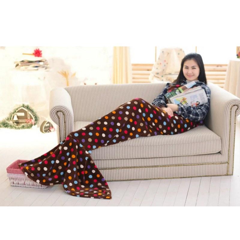 Home Soft Mermaid Tail Sofa plush Blanket Lap Throw Bed Wrap Fin Warm Cocoon Costume Girls Kids Children Sleeping Bag nz17