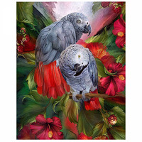 5D DIY Diamond Painting Bird Flower Cross Stitch Lover Parrot Animal Needlework Home Decorative Full Square