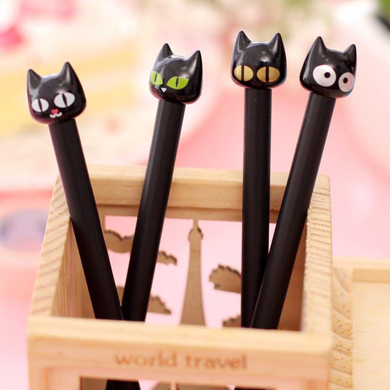 2 Pcs Cute Korea Style School Office Supplies Cat Emoji Black Gel