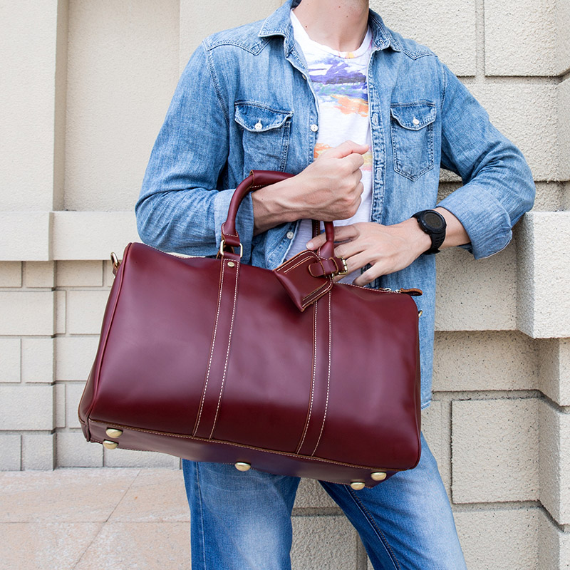 Large Capacity Genuine Leather Men Travel Bag fashion Women oil wax Leather Travel Duffel Cow leather