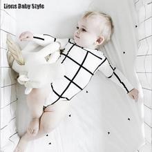 Ins Fashion Designer Plaid Long Sleeve Infant Baby Bodysuits Newborn Baby Boy Clothes Jumpsuit Toddler Onesie