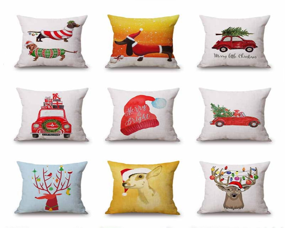 45x45cm Pillow Case For Christmas Party Home Cotton Cloth Decor Animal Pattern MARRY CHRISTMAS Printing Home Textile
