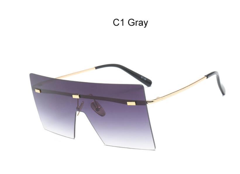 Oversize Brown Sunglasses 2020 Women Retro Vintage Sunglasses Luxury Brand Rimless Eye wear Big Shades 8