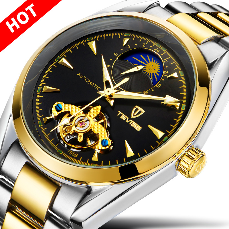 2018 New TEVISE Brand Luxury Watch Waterproof Skeleton Fully Men's Automatic Mechanical Watch Man Gold Clock Wristwatch For Men tevise fashion mechanical watches stainless steel band wristwatches men luxury brand watch waterproof gold silver man clock gift