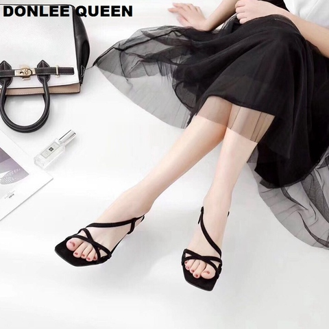 DONLEE QUEEN Black Gladiator Sandals Summer Office High Heels Shoes Woman Ankle Strap Sandal For Party Shoes Women Casual Slides Lahore