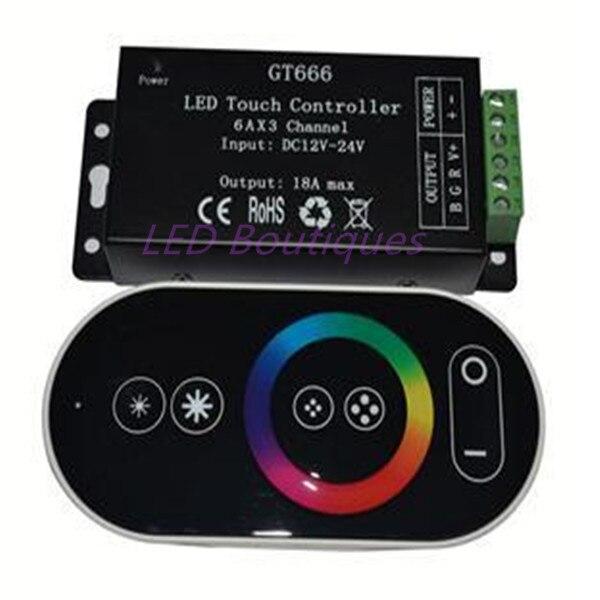 Wholesale 1 Pcs DC12-24V 6Ax3channel RBG Controller GT666 Touch Led Controller
