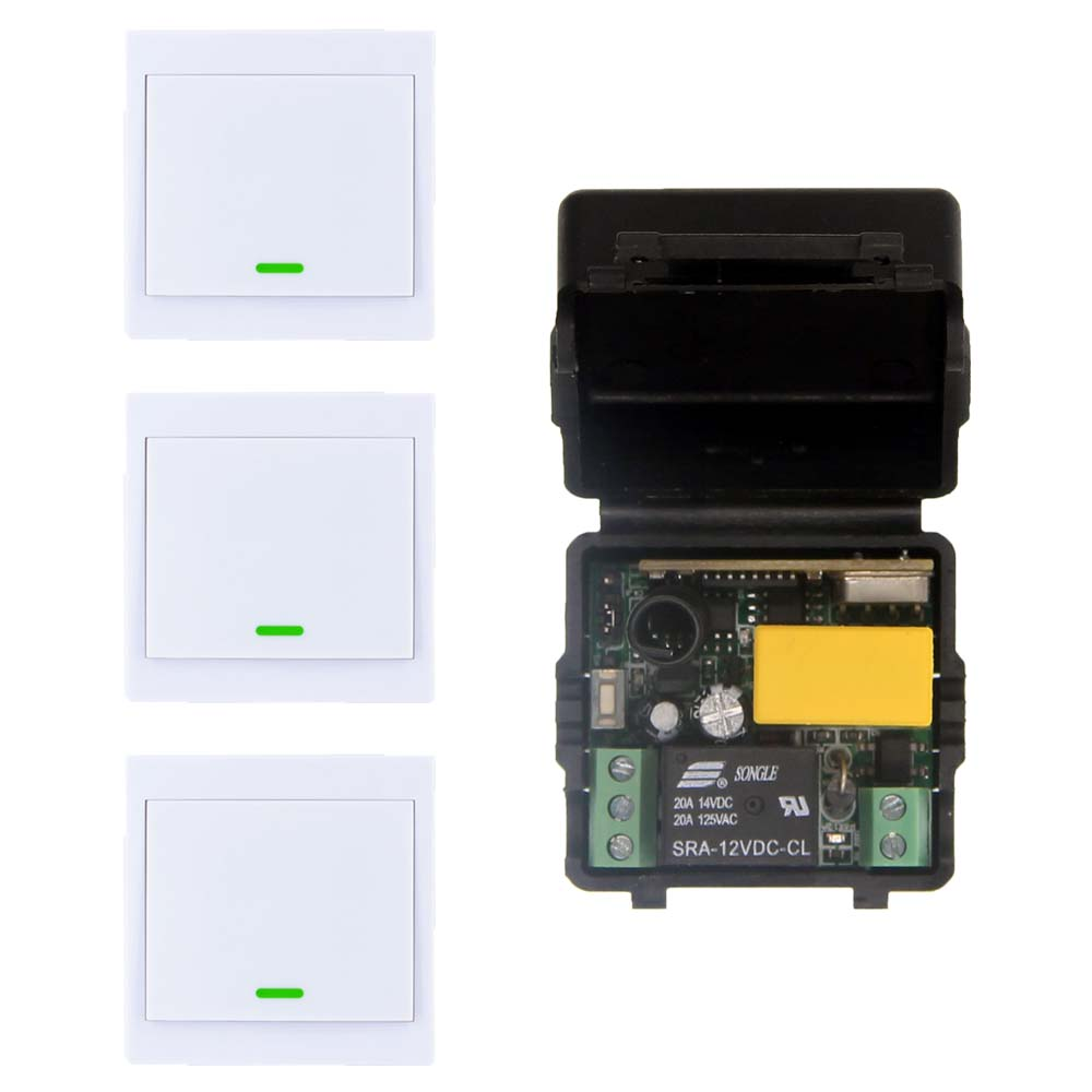 10A AC 220V 1CH RF Wireless Remote Control Switch System,Receiver +86 Wall Panel Transmitter,315 / 433.92 MHZ ac 220v 1channel 10a rf wireless remote control switch system 4 receiver