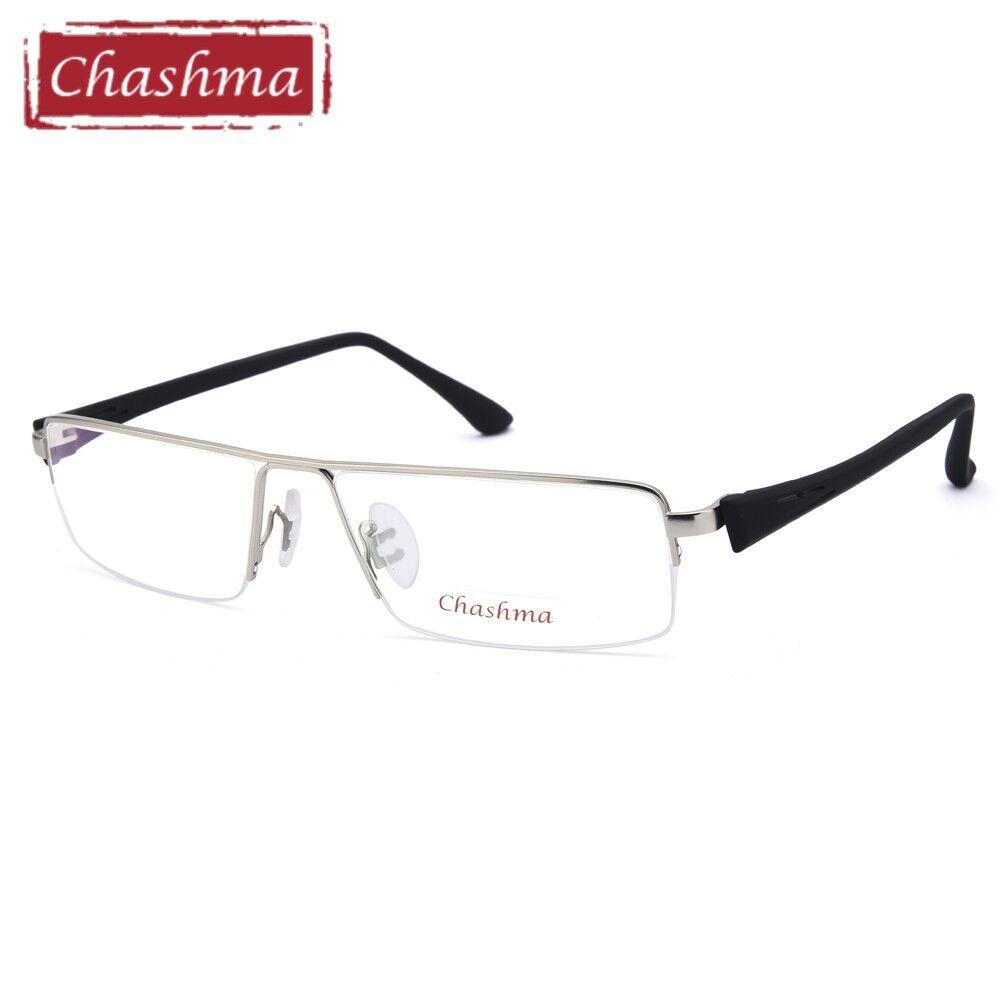 Chashma marco grande aleación de titanio gafas de la mitad hombres ...