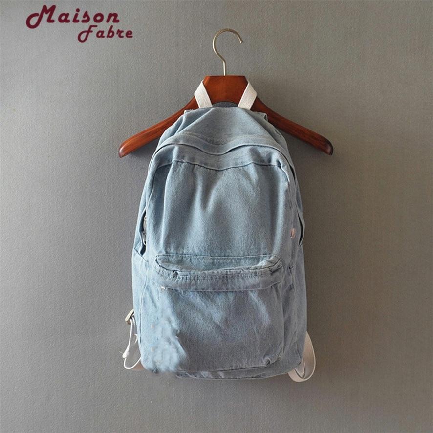 2017 New Denim Backpack Women blue Schoolbag cute child School Backpacks <font><b>Jeans</b></font> canvas Backpacks For Teenage Girls 1011#23