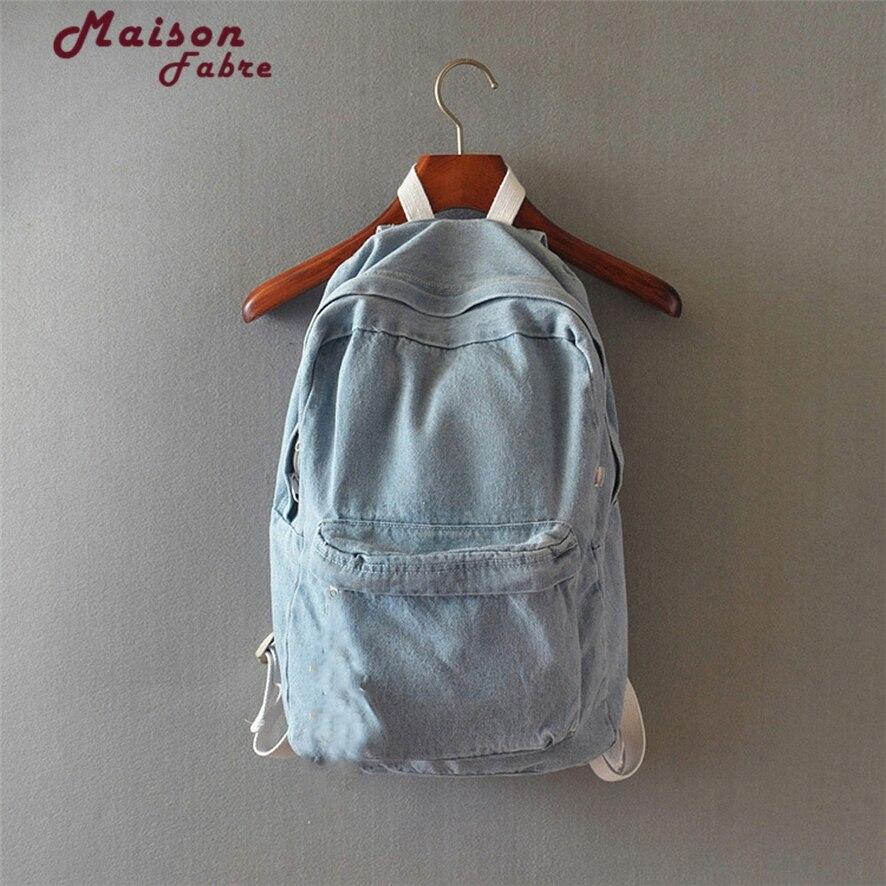 Denim Backpack Blue Schoolbag Child School Backpacks Jeans Canvas Backpacks For Teenage Girls 1011#23