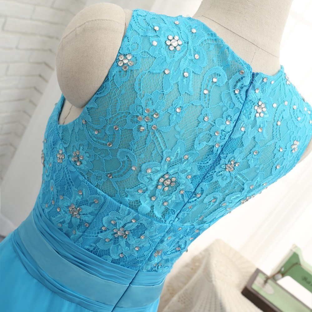Blue A-line High Collar Chiffon Lace Beaded Long Bridesmaid Dress
