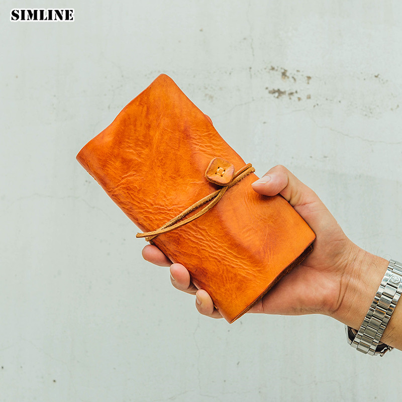 Vintage Genuine Leather Men Wallet Clutch Bag Handmade Vegetable Tanned Cowhide Long String Wallets Clutches Purse Card Holder luxury brand vintage handmade genuine vegetable tanned cow leather men women long zipper wallet purse wallets clutch bag for man