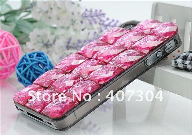 Luxury Falling Stone meteorolite Bling Diamond Case Cover for iphone 4 4S with retail package Free shipping