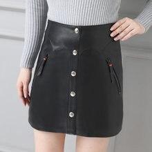 2019 Women Slim Genuine Sheep Leather Skirt P15