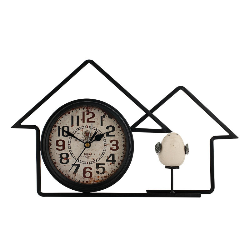 CHFL 6 Inch American Country House Retro Wrought Iron Mute Clock Antique Home Decoration Bedroom Bedside Ceramic Bird Alarm Cl