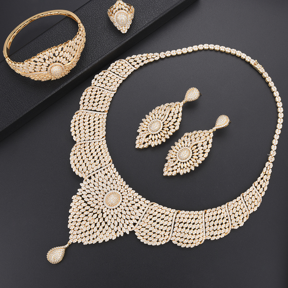 Luxury African Engagement Necklace CZ dubai jewelry sets for women Necklace Earrings fashion jewelry Ring Bracelet Jewelry Luxury African Engagement Necklace CZ dubai jewelry sets for women Necklace Earrings fashion jewelry Ring Bracelet Jewelry