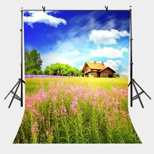5x7ft Blue Sky Backdrop Beautiful Country House Surrounded by Green Photography Background and Props