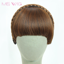 MISS WIG 3Colors Available Fake Hair Bangs Girls Front Neat Bang Hair Extensions Fringe Hair Synthetic Clips