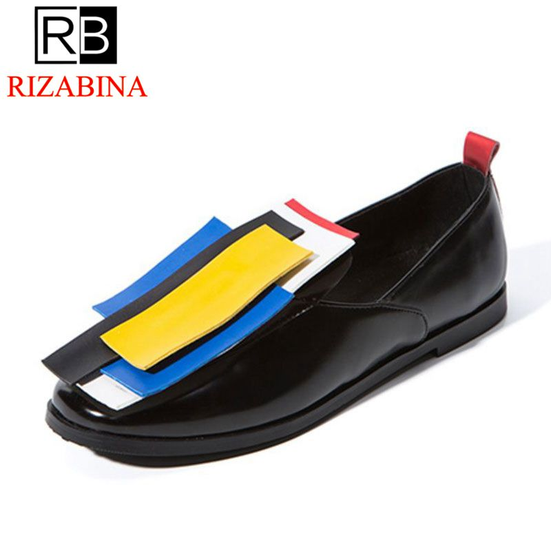 RizaBina Size 32-43 Autumn Women Flats Shoes Oxfords Patent Leather Slip On Square Toe Flats Casual Mixed color Shoes Women new round toe slip on women loafers fashion bow patent leather women flat shoes ladies casual flats big size 34 43 women oxfords
