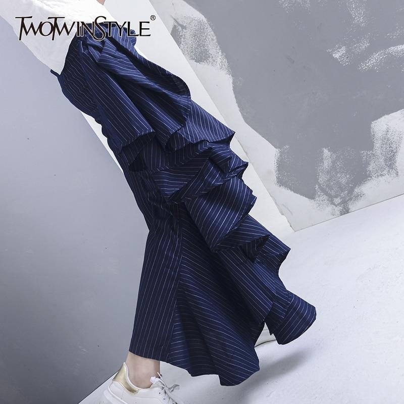 Twotwinstyle Casual Pantalon Vêtements Grand Femmes Mode 2017 Grandes Haute Flare D'été Taille Navy Ruches Coréenne Nouveau Rayé Tailles zqzrBx