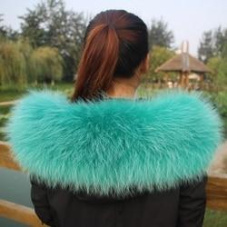 Яркий натуральный мех енота съемный воротник шарфы модное пальто свитер роскошный енот меховой воротник TKC006-green