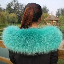 Colorful Genuine Raccoon Fur Detachable Collar Scarfs Fashion Coat Sweater  Luxury Raccoon Fur Collar TKC006-green