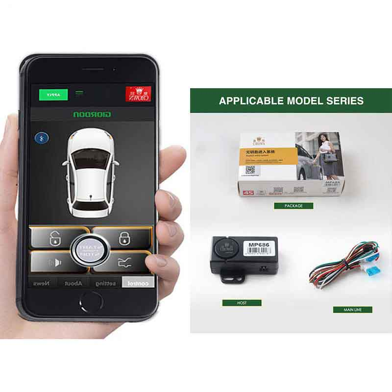 Central lock Car alarm Automatic Trunk Opening Mobile phone sensor automatically unlocks Mobile phone control trunk MP686|Burglar Alarm| |  - title=
