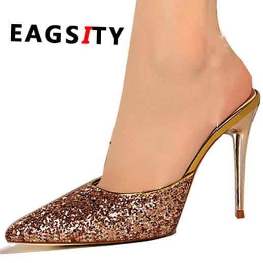 2651beb2d Sequined bling sex stiletto heels pump women shoes slides slipper mules  ladies dress shoes backless slides