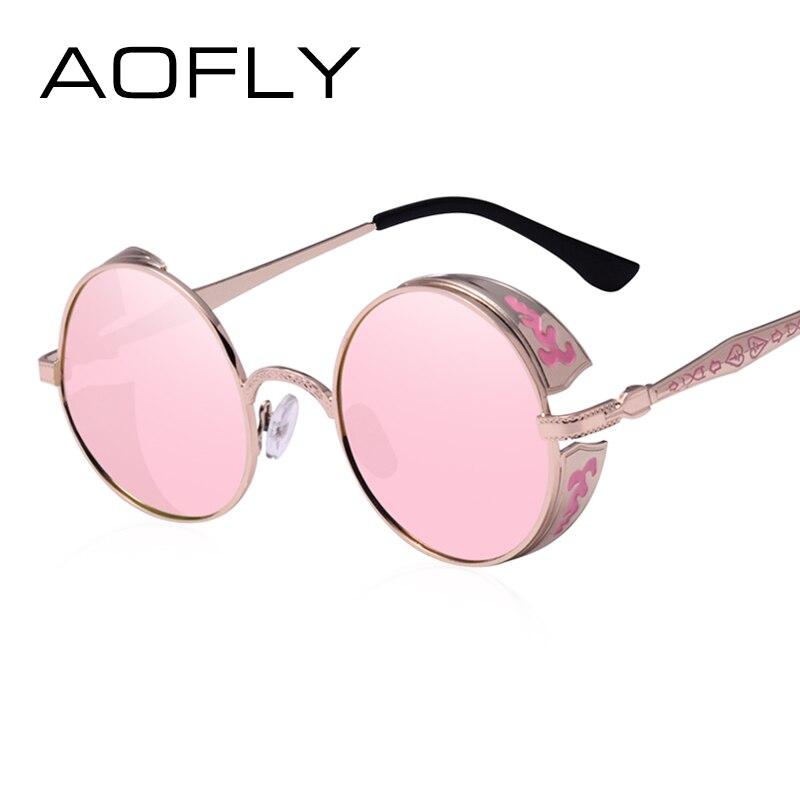 AOFLY Steampunk Vintage Lunettes de Soleil de Mode lunettes de soleil  rondes femmes concepteur de marque en métal sculpture lunettes de soleil  hommes oculos ... 80bd0b647a58