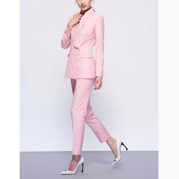 Custom fashion new pink double-breasted casual fashion ladies suit two-piece suit (jacket + pants) women's business formal suit