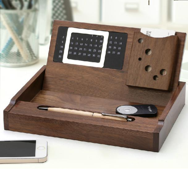 Creative Walnut Wood Wooden Desk Organizers Multifunction