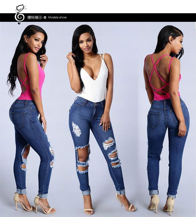 524d1b459fa Fashion Women Holes Skinny Tight Long Jeans Pencil Stretch Ripped Denim  Pants Plus Size Denim High Waist Trousers Leggings New
