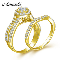 AINUOSHI 14K Solid Yellow Gold Bridal Ring Set SONA Diamond Cluster Ring Set Woman Engagement Wedding 14K Gold Ring Jewelry Gift